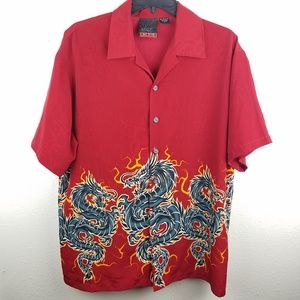 C-TWO Dragon Fire Red Casual Button Up Shirt